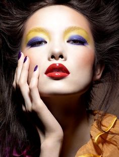 Creative Yellow and Purple Eye Makeup Vogue China    http://40sclassic.tumblr.com/post/6845161955/vogue-china-awesome-makeup-editorial
