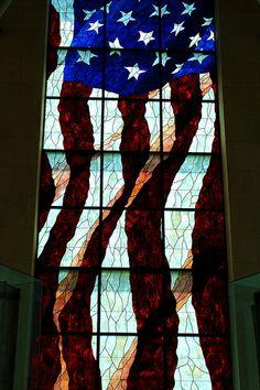 Window honoring the US flag, Robert J. Dole Institute of Politics, on the campus of the University of Kansas, Lawrence, Kansas.