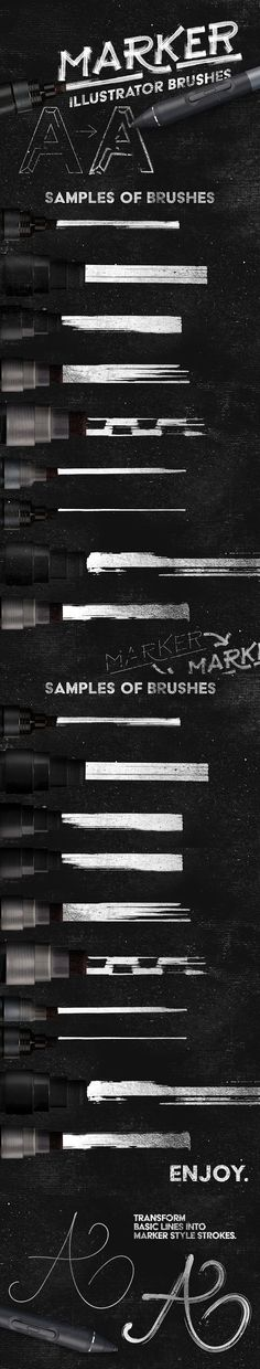 Marker Illustrator Brushes. Photoshop Brushes. $8.00
