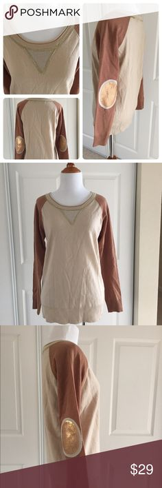 Super unique sequined elbow patch sweater S great condition. No stains or holes. Minor piling. Looks great with skinny jeans. 100% acrylic. Ark & Co Sweaters Crew & Scoop Necks
