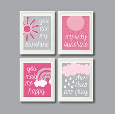 You Are My Sunshine-Set of Four Prints for Kids Room, Nursery, Home or Pink and Grey/Gray OR Choose Adele, Rainbow Room, Teacher Appreciation Week, Kids Prints, You Are My Sunshine, Girls Bedroom, Hot Pink, Pink Grey, Crafty