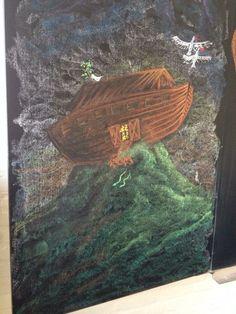 Ark van Noach vindt land Klas 3 Blackboard Drawing, Blackboard Chalk, Chalkboard Drawings, Chalk Drawings, Chalk Art, Form Drawing, Painting & Drawing, Grade 3, Third Grade