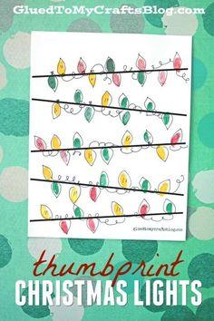Thumbprint Christmas Lights - Kid Craft - Free Printable Template To Get You Started