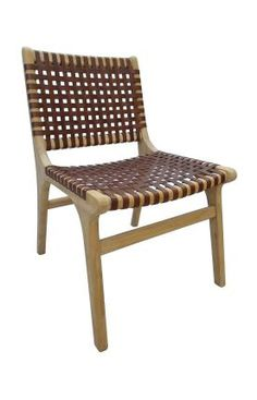 Rugs USA Ephesus Teak Dining Chairs with Leather Weave (Set of 2) Deep Brown