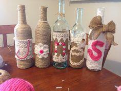 Shabby chic baby shower. DIY wine bottles