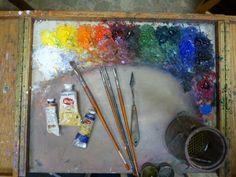 Palette: Cadmium Yellow Lemon Cadmium Yellow Light Cadmium Orange Cadmium Red Light Alizarin Crimson Transparent Brown Oxide Chromium Oxide Green Viridian Cobalt Blue French Ultramarine Blue Ivory Black Titanium White - See