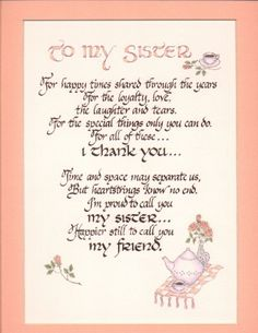 poem sister birthday - Google Search