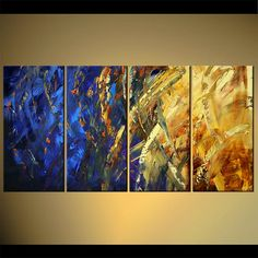 Blue/Yellow Modern Abstract Painting, Original Artwork on Canvas by Osnat…