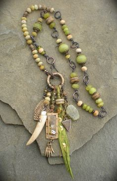 Green Equinox Shaman Healing Amulet Necklace by maggiezees on Etsy, $235.00