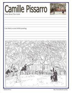 Camille Pissarro links and printable notebook page.