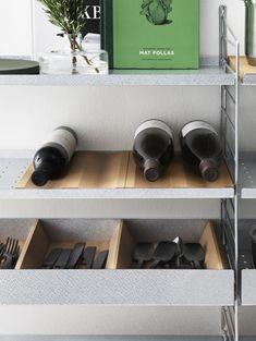 Scandinavian Shelves, Scandinavian Furniture, Scandinavian Design, Modular Shelving, Wire Shelving, Metal Shelves, String System, Hanger Rack, Bottle Rack