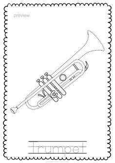Brass Instruments Trace and Color Pages Guitar Drawing, Elementary Music, Music Classroom, Teaching Music, Music Lessons, Music Education, Colouring Pages, Trumpet, Musicals