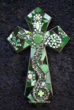 Green mixed medium mosaic cross www.facebook.com/tinypiecesmakeart