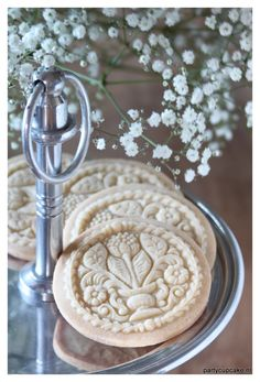 Sugar cookies made with a flower bouquet springerle mould. How romantic are these!!