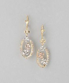 Rhinestone & Gold Floral Drop Earrings