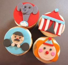 Circus cupcake toppers clown elephant strong man circus tent. $36.00, via Etsy.