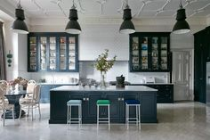 Kitchen with blue units in a grand Victorian Country House in Shropshire on HOUSE by House & Garden. The decor of this house enhances original features combining them with a mid-century twist. Kitchen Units, Open Plan Kitchen, Country Kitchen, New Kitchen, Kitchen Decor, Kitchen Storage, Kitchen Layouts, Kitchen Designs, Fixer Upper