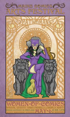 Catwoman in Art Nouveau 1 by Mark Cupp, via Behance