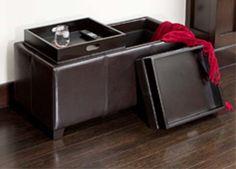 """Sheffield Espresso Leather Storage Ottoman (Espresso) (36""""H x 18""""W x 17""""D)"""