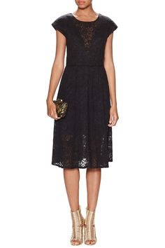 Lace sleeveless flair dress with crew neck and contrasting panel at chest. Polaris Dress by Black Halo. Clothing - Dresses New Jersey