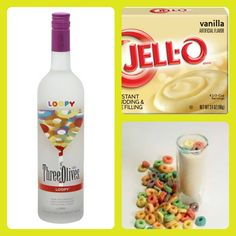 FRUIT LOOPS Pudding Shots  1 small Pkg. vanilla pudding (instant, not the cooking kind) ¾ Cup Milk ¾ Cup Three Olives Loopy Vodka 8oz tub Cool Whip  Directions 1. Whisk together the milk, liquor, and instant pudding mix in a bowl until combined. 2. Add cool whip a little at a time with whisk. 3. Spoon the pudding mixture into shot glasses, disposable 'party shot' cups or 1 or 2 ounce cups with lids. Place in freezer for at least 2 hours
