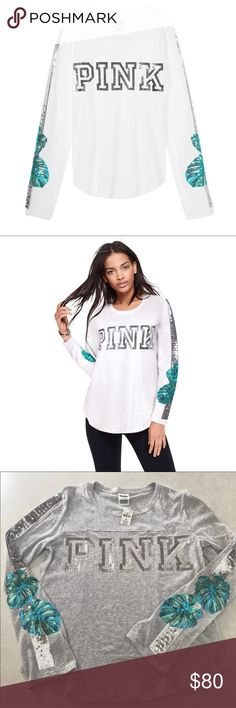 VS PINK Bling football long sleeve White 💖 NWT VS PINK Bling football long sleeve tee sold out! Sequence palm trees and pink logo super cute! Get yours now last one!  🌴 Size small fits a xsmall-Medium even large bc of oversized fit !! 🌴💖 size medium fits small-large bc of oversized fit! grey color is listed in my closet as well - hurry as it's sold out and have only a few sizes! 💖🌴✨ PINK Victoria's Secret Tops