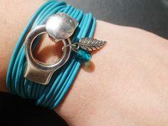 """bracelet cuir lanières """"TURQUOISE"""""""