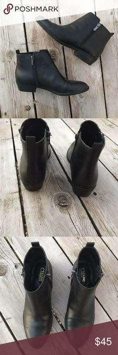 Chaps Sabra Black Ankle Zip-Up Boots -- Size 8.5 Boots are size 8.5. Worn a couple times total, in excellent like-new condition. Silver working zippers on both inside and outside of each ankle. Chaps Shoes Ankle Boots & Booties