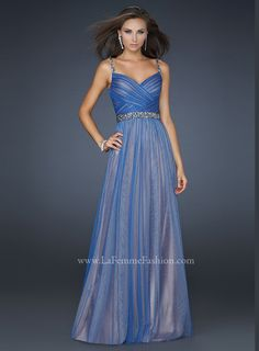 Gorgeous net long formal gown La Femme 17324. Sapphire colors reign on Hollywood and you will be the unique Queen at your prom Reign by wearing this chic formal dress 2012 with Nude underlay adorned by exquisite Blue waves. Embellished spaghetti straps adjoin the crossing pleated midriff, with V-shaped neck and shimmering belt at the natural waist. The back features a V-shape as well. Sapphire pendant earrings, stiletto heels and sequin clutch will make you the Queen of the night. Find this…
