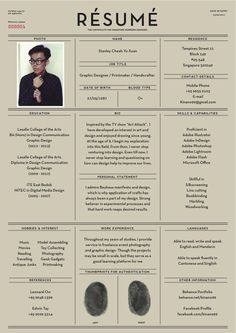 If you submitted a resume to me that looked like this, I'd hire you on the spot | Résumé by Yu Xuan / Stanley Cheah