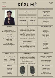 Résumé by Yu Xuan / Stanley Cheah, via Behance