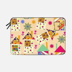 #case #macbook #sleeve #house #abstract #pattern #retro #vintage