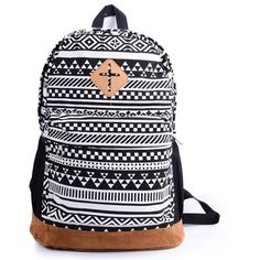 Canvas Indie Backpack School, Travel, College B&W ($23) ❤ liked on Polyvore featuring bags, backpacks, accessories, bolsas, purses, backpacks bags, travel rucksack, travel daypack, day pack backpack and knapsack bags