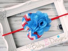 Red White and Blue Burlap and Chevron Bow Headband by babyzdesigns