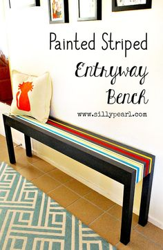 The Silly Pearl {Handmade}: Striped Entryway Bench @decoart #chalkyfinish #DecoArtProjects
