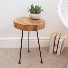 Rustic wood slice side table