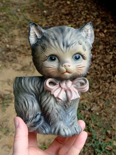 Vintage Ceramic Kitten Planter Kitty Cat with Pink Bow.