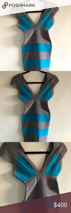 Herve Leger Grey and blue bandage dress size XXS This dress is super cute! Only worn once- no stains or signs of wear Super petite Expensive designer  Smoke and pet free home Herve Leger Dresses Mini