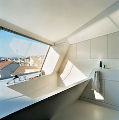 Future Home, Spaceship Inspired Townhouse In Vienna, Austria by Elke Meissl and Roman Delugan, Modern Architecture, Futuristic Bathroom