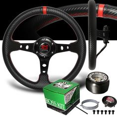 1994-2001 Acura Integra Red Stitches Carbon Drift Style Steering Wheel with Hub Adaptor Aluminum Frame wrap by Carbon Style PVC Leather. Professional Installation is strongly Recommanded. Installation guide is not included. Fits 92-95 Honda Civic / 94-01 Acura Integra / 93-97 Del Sol.  #RS_Type #Automotive_Parts_and_Accessories