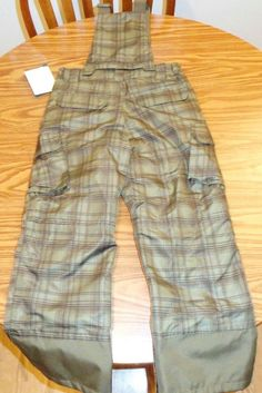 NWT Boys Snow Board Pants With Zip Off Bib SZ M 8/10 Green/Brown Check #Cherokee #SnowBoard