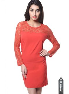 Meira Full Seleeve Round Neck Red Poly Crepe Dress