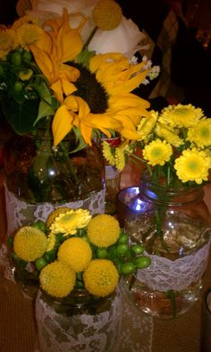 Sunflower Wedding Centerpieces | The Style Sisters: DIY country wedding - Centerpiece Wednesday