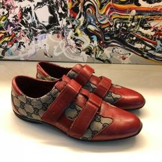 a7a5884116ff GUCCI RED GG SNEAKERS 9 Gucci Red 121830 Sneakers Size  EU 39 (Approx.