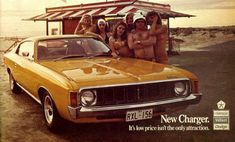 "The Chrysler Valiant Charger or just ""The Charger"" in Australia and New Zealand is a muscle car introduced in 1971 by Chrysler Australia. Australian Muscle Cars, Aussie Muscle Cars, Chrysler Charger, Dodge Charger, Chrysler Valiant, Dodge Vehicles, Car Brochure, Pt Cruiser, Sports Sedan"