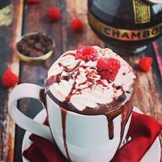 OMG! Chamboard Hot Chocolate!  Choc, fab raspberry liqueur and cream. What's not to like!