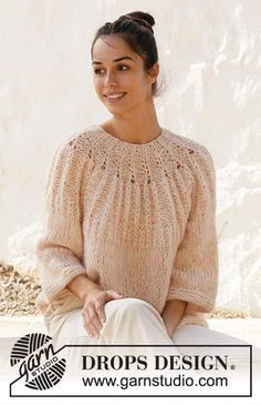 Knitted jumper in DROPS Air and DROPS Brushed Alpaca Silk. Piece is knitted top down with Fisherman's rib stitches on yoke and ¾ sleeves. Drops Design, Sweater Knitting Patterns, Knit Patterns, Clothing Patterns, Summer Knitting, Free Knitting, Summer Sweaters, Sweaters For Women, Knitted Cape