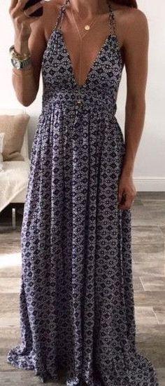 #summer #fashion / pattern print maxi dress