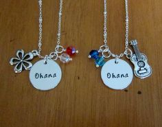 Ohana friendship necklaces. Set of 2. Hand stamped. Ukulele charm. Hawaiian Flower. Best friend necklace. Sister necklace. Family necklace. by WithLoveFromOC (item: 201510251759)