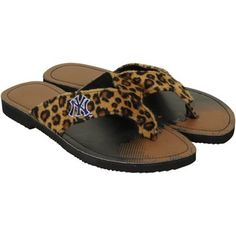 New York Yankees Ladies Cheetah Strap Flip Flops Nhl Pittsburgh Penguins, Polka Dot Socks, Lets Go Pens, Nike Pegasus, For Bare Feet, Miller Sandal, Fan Gear, New York Yankees, Cheetah Print